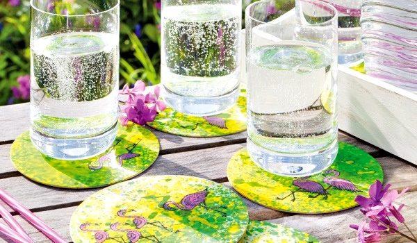 efco Basteltipp: Farbenfrohe Bierdeckel mit IZINK-Tinte von Aladine