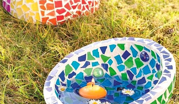 efco Basteltipp: Mosaixgartendeko mit Schwimmkerze
