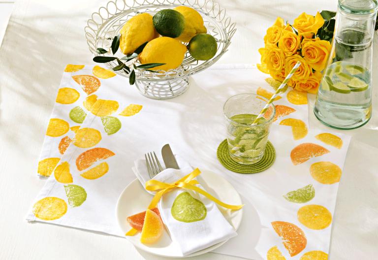 Marabu Basteltipp: Fruchtig frisch … Gute-Laune-Tischdeko