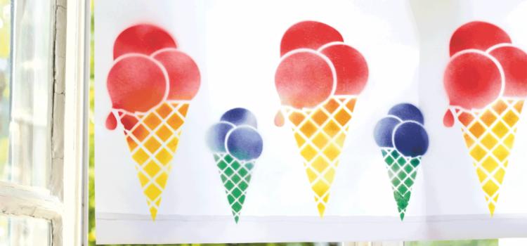 Marabu Basteltipp: Eis, Eis, Baby! Stoffrollo mit Marabu Textil Design Spray aufpeppen