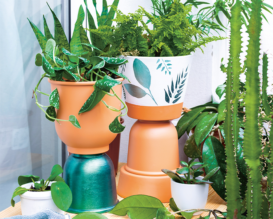 Marabu Basteltipp: Plants are friends! Pflanzenständer mit Marabu Colorado Gold