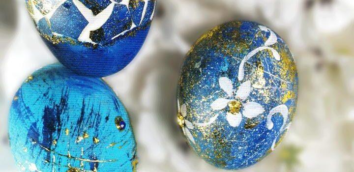 Deko- und Bastespaß Frühjahr 2021 (BS41), Ostereier glanzvoll in Blau und Gold, Modellbild